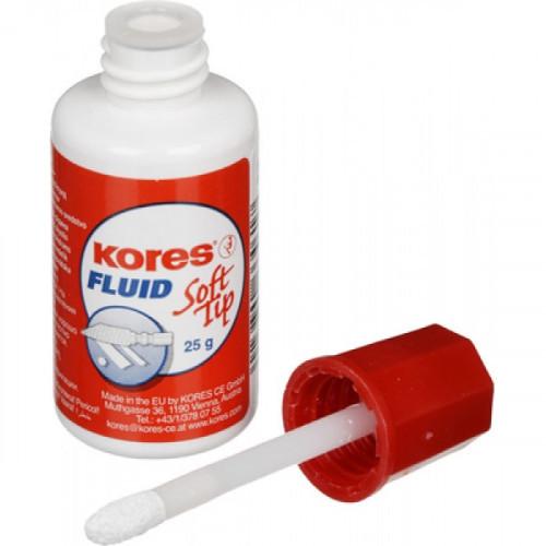 Корректирующая жидкость штрих Kores Fluid Soft Tip быстросохнущая 25 мл