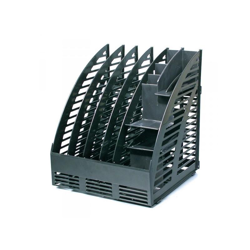 Вертикальный накопитель c органайзером на 4 отделения черный