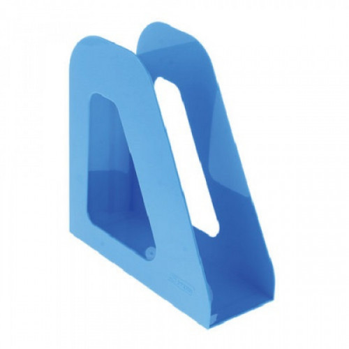 """Лоток вертикальный для бумаг СТАММ """"Фаворит"""", ширина 90 мм, голубой, ЛТ722"""