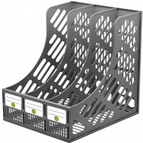 Лоток для бумаг вертикальный DOLCE COSTO 230 мм 3 секции серый