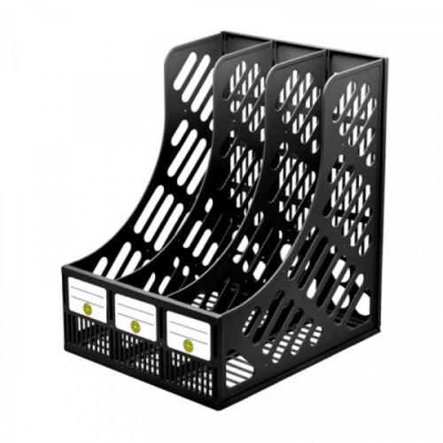 Лоток для бумаг вертикальный DOLCE COSTO 230 мм 3 секции черный
