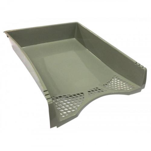 Лоток горизонтальный, 1 отделение, 340x275x71мм, пластик, серый, литой, WORKMATE