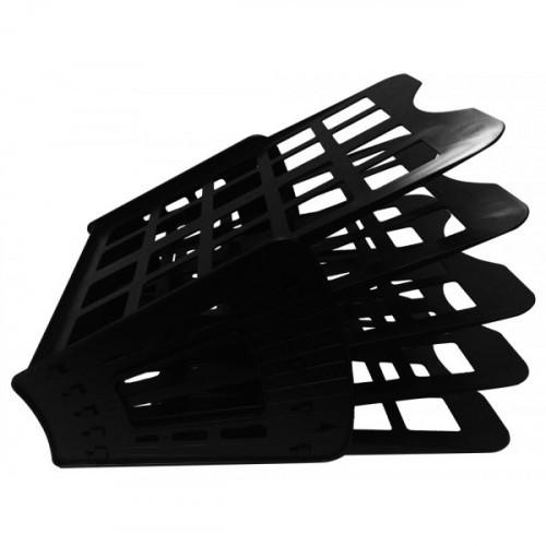Лоток горизонтальный/вертикальный/веерный, 5 отделений, пластик, черный, WORKMATE