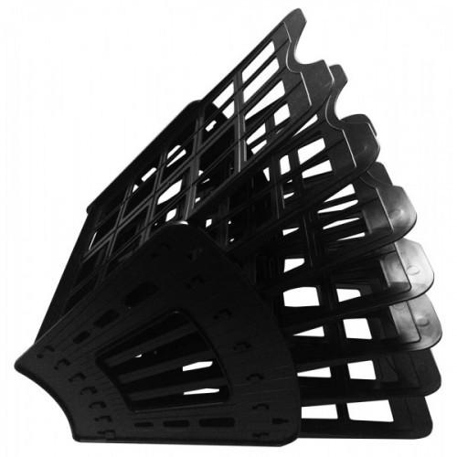 Лоток горизонтальный/вертикальный/веерный, 6 отделений, пластик, черный, сборный, OFFICE LINE