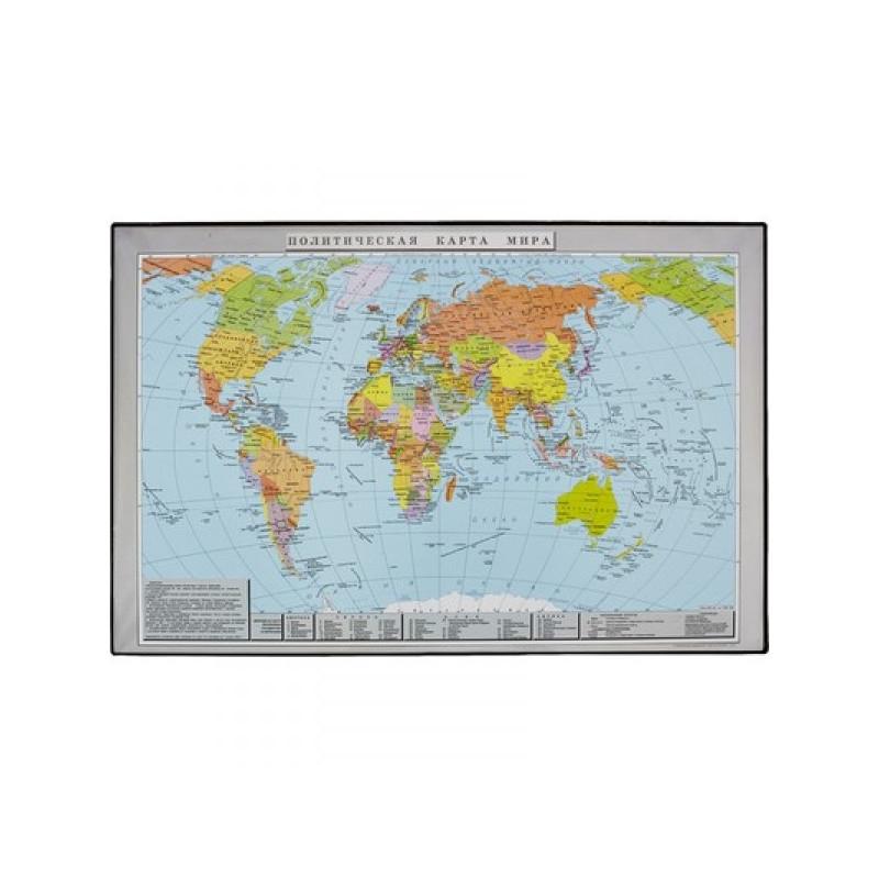 Коврик на стол Attache Политическая карта мира 380x590 мм цветной ПВХ