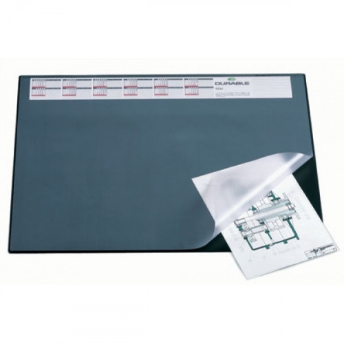 Коврик на стол DURABLE с календарем 52х65 см с прозрачным листом черный