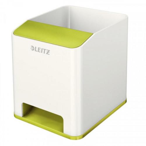 Подставка для ручек и смартфона с усилением звука Leitz WOW зеленый металлик/белый