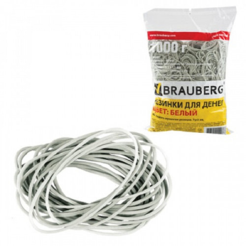 Резинки для денег BRAUBERG, 1000 г, белые, натуральный каучук, 440106
