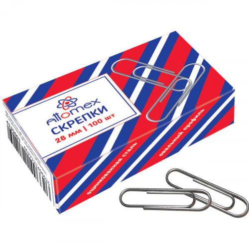 Скрепки 28 мм металлические Attomex овальные оцинкованные, 100 шт в картонной коробке