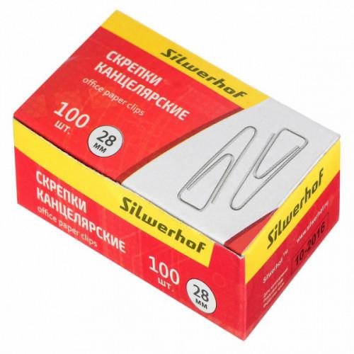 Скрепки Silwerhof 491030 металл оцинкованные треугольник 28мм (упак.:100шт) картонная коробка