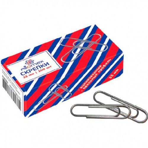 """Скрепки металлические """"Attomex"""" овальные оцинкованные 33 мм, 100 шт в картонной коробке"""
