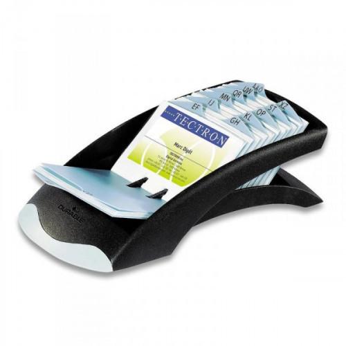 Картотека Durable Visifix Desk на 200 визиток черная с серебром
