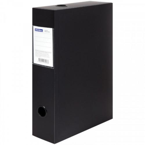 Короб архивный на кнопке OfficeSpace разборный, 70мм, пластик, 700мкм, черный, до 750л.