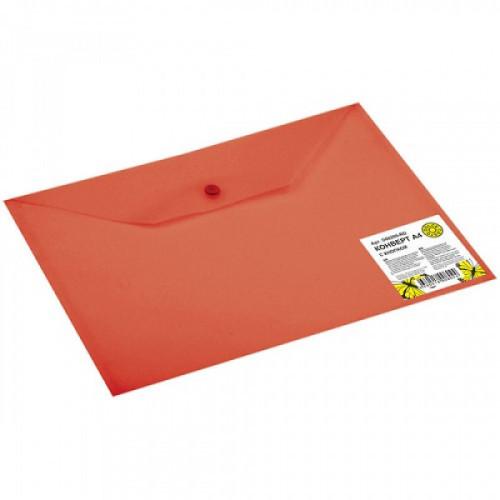 Папка-конверт на кнопке А4, 0,18 мм, полупрозрачная красная DOLCE COSTO