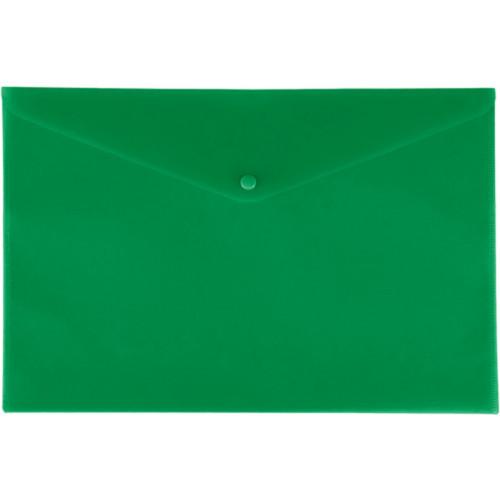 Папка-конверт на кнопке, А4, 180мкм, пластик, зеленая, Lamark