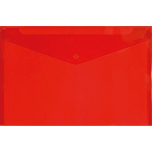 Папка-конверт на кнопке, А4, 180мкм, пластик, красная, Lamark