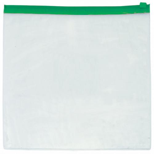 Папка-конверт на молнии Simple, А4, 140мкм, прозрачная, ассорти