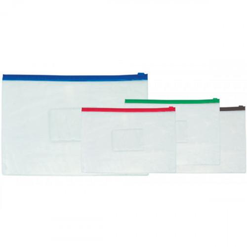 Папка на молнии прозрачная, ассорти, A5, 140 мкм, с карманом для визитки