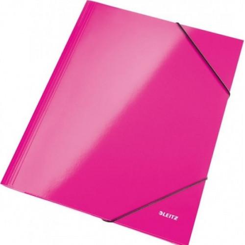 Папка на резинках Leitz Wow А4 картонная розовая 240 г/кв.м до 250 листов
