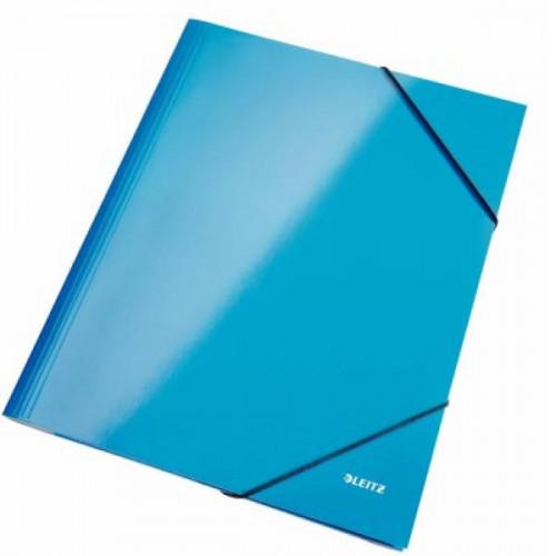 Папка на резинках Leitz Wow А4 картонная голубая 240 г/кв.м до 250 листов