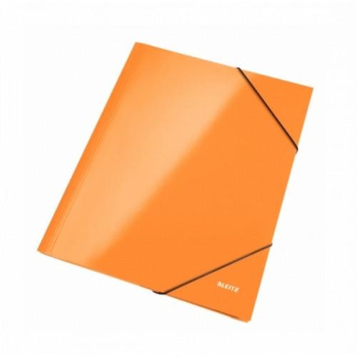 Папка на резинках Leitz Wow А4 картонная оранжевая 240 г/кв.м до 250 листов