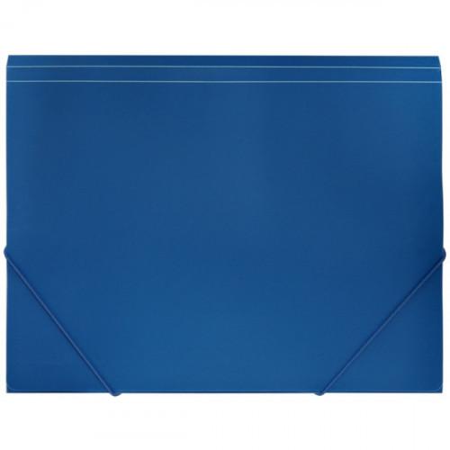 Папка на резинках, A4, 500мкм, пластик, синяя, резинка по углам, Simple