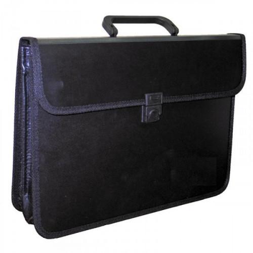 Папка-портфель Attache пластиковая А4 черная 370x275 мм 2 отделения