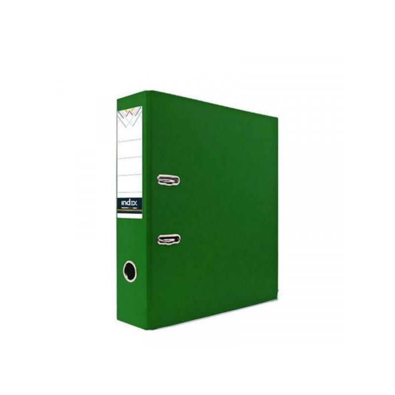 Папка с арочным механизмом 80мм, пвх/бум, зеленая, INDEX