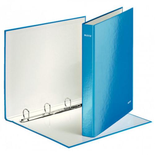 Папка на 4-х D-кольцах Leitz WOW ламинированный картон 25 мм голубой глянец