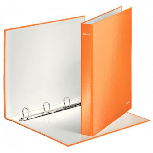 Папка на 4-х D-кольцах Leitz WOW ламинированный картон 25 мм оранжевый глянец