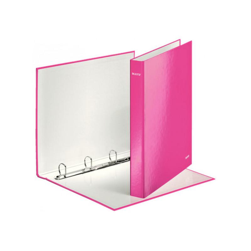 Папка на 4-х D-кольцах Leitz WOW ламинированный картон 25 мм розовый глянец