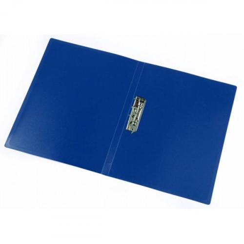 Папка с металлическим зажимом в середине синяя пластик 0.40 мм А4