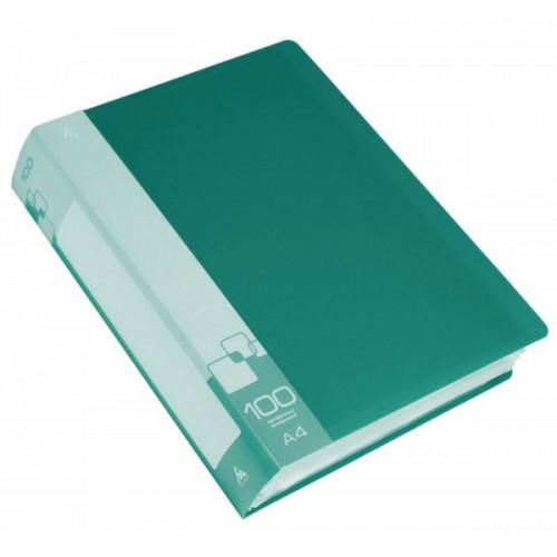 Папка с 100 прозрачными вкладышами А4 пластик 0.80 мм карман с бумажной вставкой зеленая