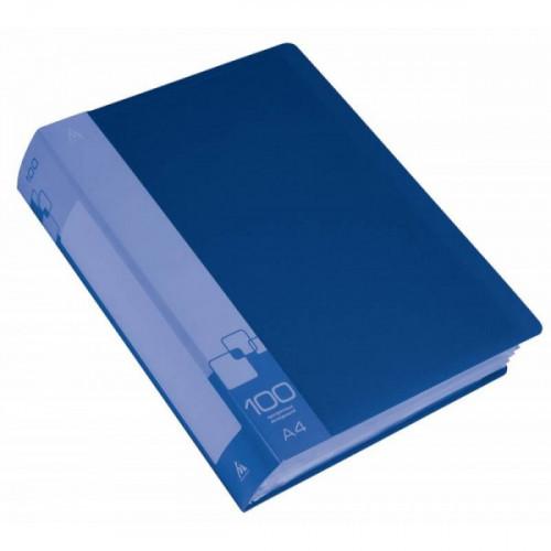 Папка с 100 прозрачными вкладышами А4 пластик 0.80 мм карман с бумажной вставкой синяя