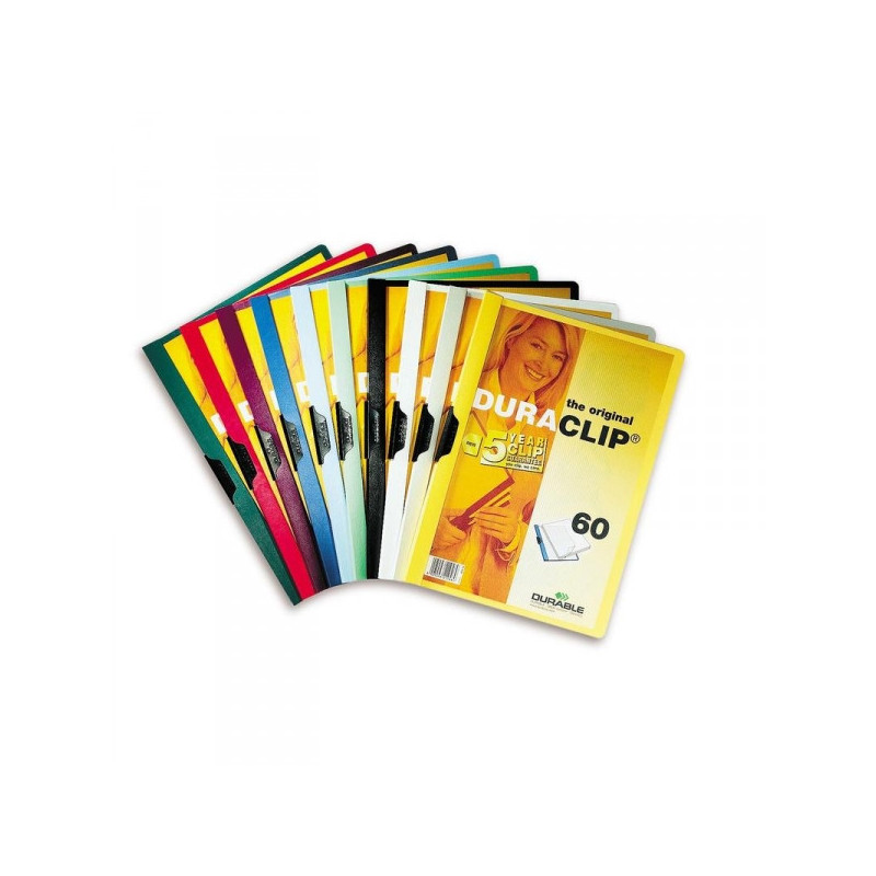 Папка для брошюровки Durable с клипом А4 в ассортименте до 60 листов