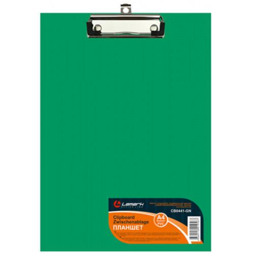Папка-планшет, б/крышки, А4, верхний зажим, картон/ПВХ, 2мм зеленая Lamark
