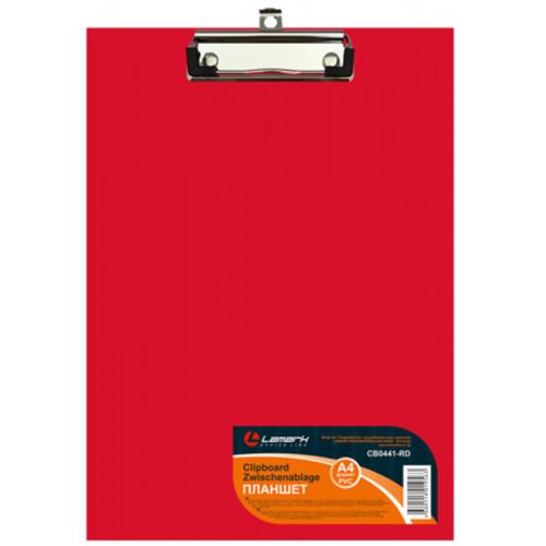 Папка-планшет, б/крышки, А4, верхний зажим, картон/ПВХ, 2мм красная Lamark