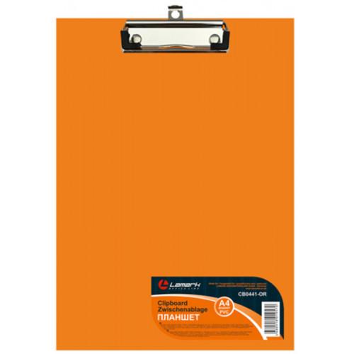 Папка-планшет, б/крышки, А4, верхний зажим, картон/ПВХ, 2мм оранжевая Lamark