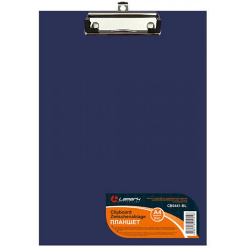 Папка-планшет, б/крышки, А4, верхний зажим, картон/ПВХ, 2мм, синяя, Lamark