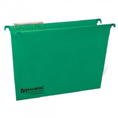 Подвесные папки картонные BRAUBERG(Италия), комплект 10 шт., 370х245 мм, 80 л., Foolscap, зеленые, 230 г/м2, табуляторы, 231795