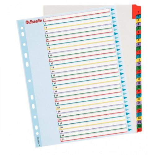 Разделители листов А4+ с ламинированным титульным листом с цифрами 1-31 цветные Esselte