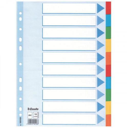 Разделители листов без надписей 10 разделов Esselte картон цветные А4