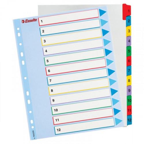 Разделители листов А4+ с ламинированным титульным листом с цифрами 1-12 цветные Esselte