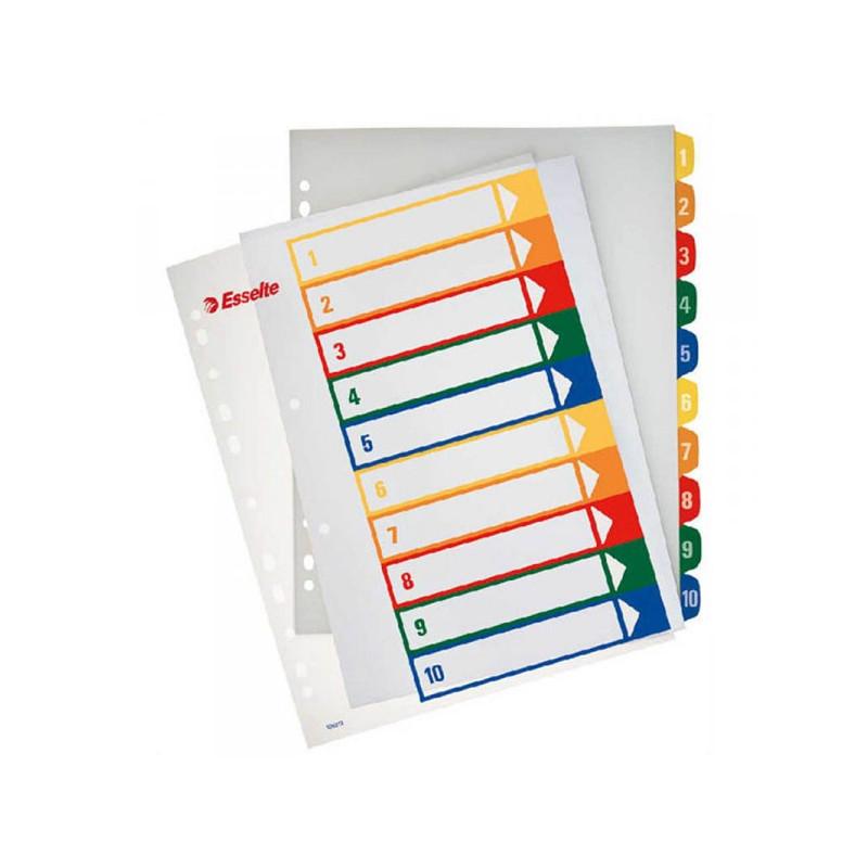 Разделители листов Esselte А4+ цифровые с цифрами 1- 10 пластик цветные