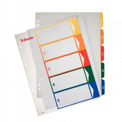 Разделители листов Esselte А4+ цифровые с цифрами 1- 5 пластик цветные