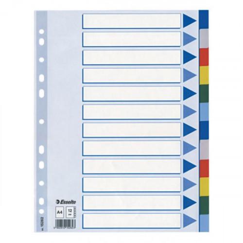 Разделители листов без надписей 12 разделов Esselte пластик цветные А4