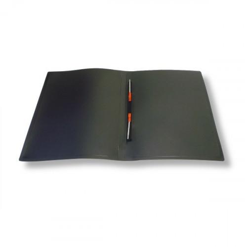Папка с пружинным скоросшивателем в середине А4 пластик 0.40 мм черная