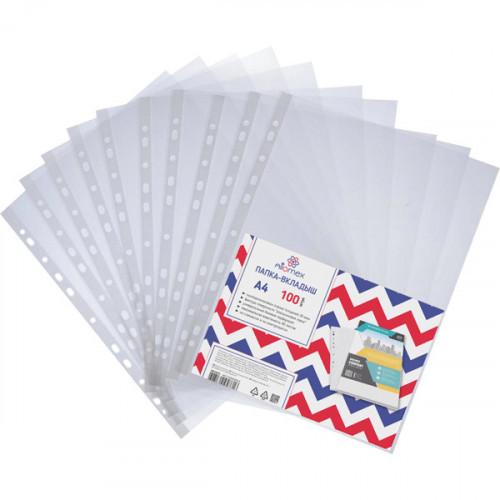 Файл-вкладыш с перфорацией, А4, 20мкм, прозрачный, тисненый, 100 шт/упак, Attomex. Эконом