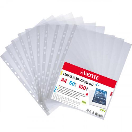 Файл-вкладыш с перфорацией, А4, 50мкм, прозрачный, тисненый, 100 шт/упак, deVENTE
