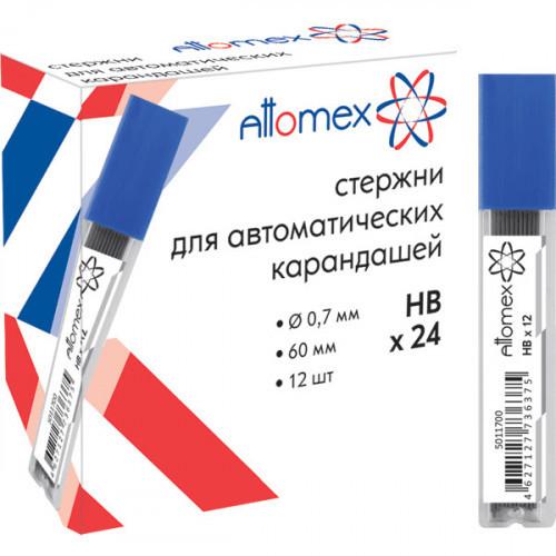 Стержни микрографические, 0,7 мм, HB, 12шт, в пластиковом боксе, Attomex